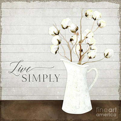 Pitcher Painting - Rustic Farmhouse Cotton Boll Milk Pitcher Live Simply by Audrey Jeanne Roberts
