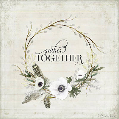 Painting - Rustic Farmhouse Gather Together Shiplap Wood Boho Feathers N Anemone Floral 2 by Audrey Jeanne Roberts