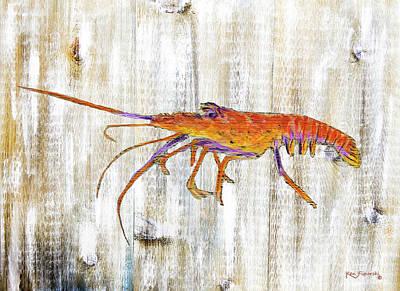 Sea Painting - Rustic Florida Lobster by Ken Figurski