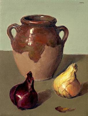 Painting - Rustic Glazed Pot, Red And Yellow Onions by Robert Holden
