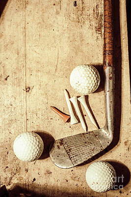 Rustic Golf Club Memorabilia Art Print