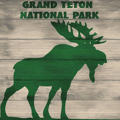 Teton Mixed Media - Rustic Grand Teton Moose by Dan Sproul
