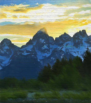 Mixed Media - Rustic Grand Teton Sunset by Dan Sproul