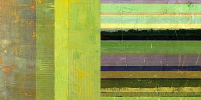 Painting - Rustic Green Flag With Stripes by Michelle Calkins