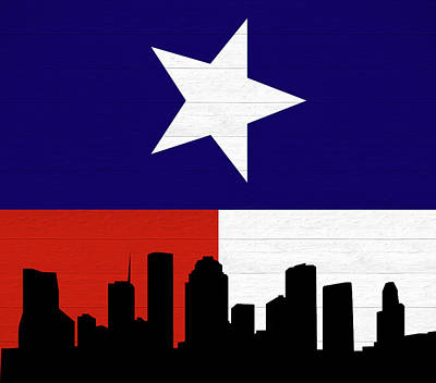 Mixed Media - Rustic Houston Skyline Texas Flag by Dan Sproul