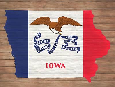Mixed Media - Rustic Iowa Map by Dan Sproul