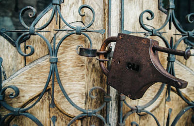 Photograph - Rustic Lock On Wooden Door by Alexandre Rotenberg