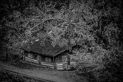 Photograph - Rustic Log Cabin In Black And White by Kelly Hazel