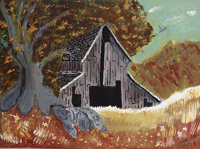 Art Print featuring the painting Rustic Old Barn by Swabby Soileau