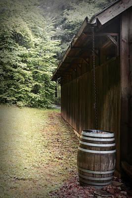 Rain Barrel Digital Art - Rustic Rain Chain  by Gary Conner