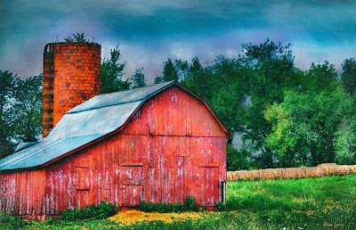 Photograph - Rustic Red Barn And Brick Silo by Anna Louise