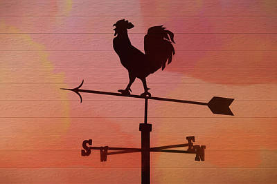 Mixed Media - Rustic Red Rooster Weather Vane by Dan Sproul