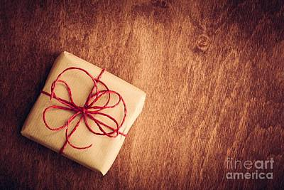 Box Photograph - Rustic Retro Gift, Present Box With Red Ribbon. Christmas Time by Michal Bednarek