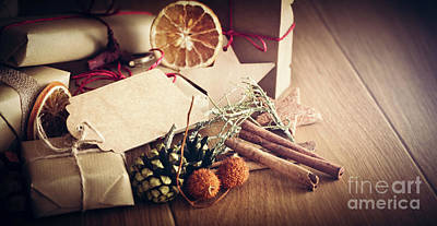 Simplicity Photograph - Rustic Retro Gift, Present Boxes With Decorations. Christmas Time, Eco Paper Wrap. by Michal Bednarek