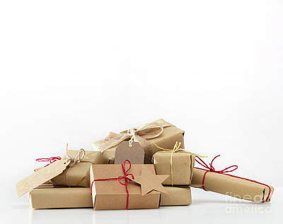Simplicity Photograph - Rustic Retro Gifts, Present Boxes. Christmas Time, Eco Paper Wrap. by Michal Bednarek