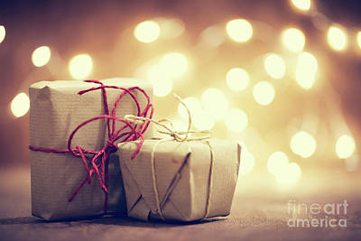 Simplicity Photograph - Rustic Retro Gifts, Present Boxes On Glitter Background. Christmas Time by Michal Bednarek