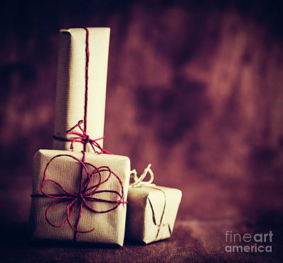 Wrap Photograph - Rustic Retro Gifts, Present Boxes On Wooden Background. Christmas Time by Michal Bednarek