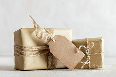 Wooden Photograph - Rustic Retro Gifts, Present Boxes With Tag. Christmas Time, Eco Paper Wrap. by Michal Bednarek