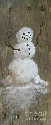 Homey Mixed Media - Rustic Snowman And Little Red Bird, A Warm Friendship, Medium Crop by Sheri Lauren Schmidt