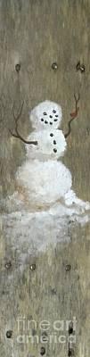 Homey Mixed Media - Rustic Snowman And Little Red Bird, A Warm Friendship by Sheri Lauren Schmidt
