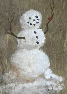 Rustic Snowman And Little Red Bird, A Warm Friendship, Small Crop Art Print by Sheri Lauren Schmidt