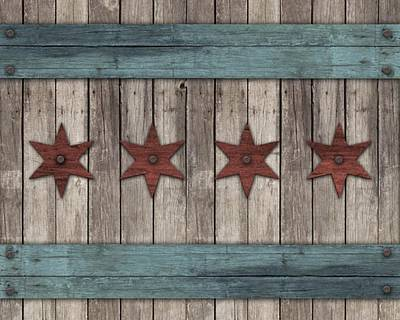 Chicago Flag Digital Art - Rustic Stars by 2141 Photography