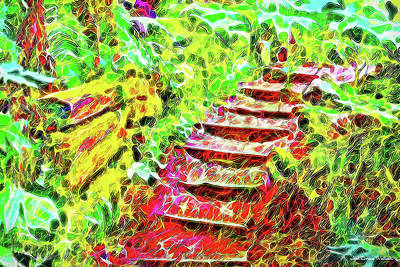 Art Print featuring the digital art Rustic Step Path Through The Woods - Tamalpais California by Joel Bruce Wallach