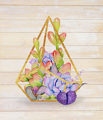 Hens And Chicks Painting - Rustic Succulent Terrarium by Tina Lavoie