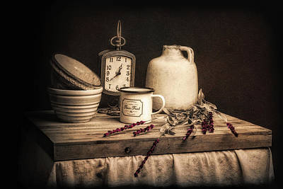Wooden Bowls Photograph - Rustic Table Setting Still Life by Tom Mc Nemar