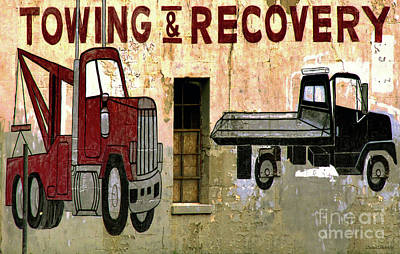 Photograph - Rustic Towing And Recovery Sign by Debbie Portwood
