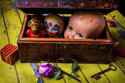 Clown Photograph - Rustic Toy Box by Garry Gay