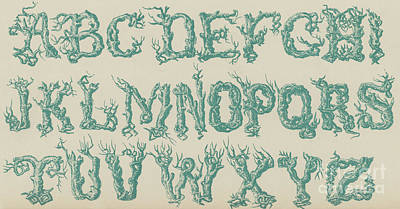 Vine Drawing - Rustic Vine Font Capital Letters by English School