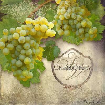 Rustic Vineyard - Chardonnay White Wine Grapes Vintage Style Art Print by Audrey Jeanne Roberts