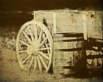 Rustic Wagon And Barrel Art Print by Tom Mc Nemar