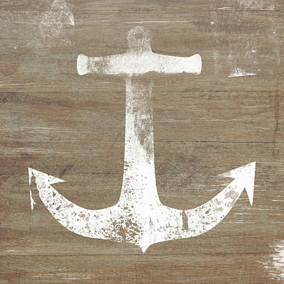 Art Print featuring the mixed media Rustic White Anchor- Art By Linda Woods by Linda Woods
