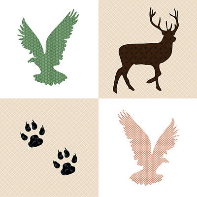 Rustic Wildlife Pattern Print by Christina Rollo