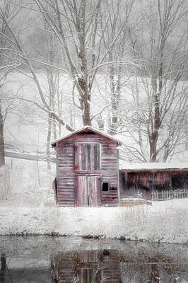 Barns In Snow Photograph - Rustic Winter 2016 by Bill Wakeley
