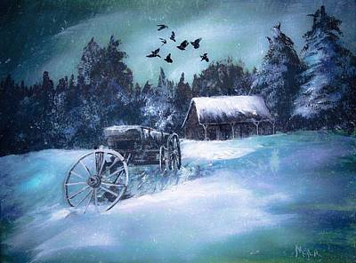 Painting - Rustic Winter Barn  by Michele Carter