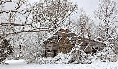 Photograph - Rustic Winter Cabin by Benanne Stiens