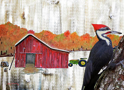 Woodpecker Mixed Media - Rustic Woodpecker Autumn Barn Art by Ken Figurski