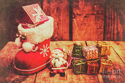 Vintage Shoes Photograph - Rustic Xmas Decorations by Jorgo Photography - Wall Art Gallery