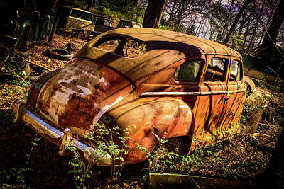 Photograph - Rusting 1950s Plymoth by Douglas Barnett