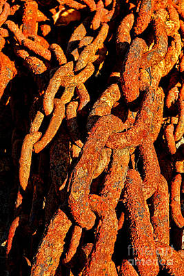 Photograph - Rusting Chains In Warm Sunlight by Olivier Le Queinec