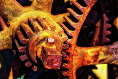 Rusting Train Yard Gear Art Print by Garry Gay