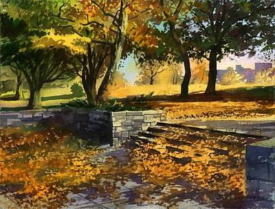 Art Print featuring the painting Rustling Of Autumn Leaves by Sergey Zhiboedov