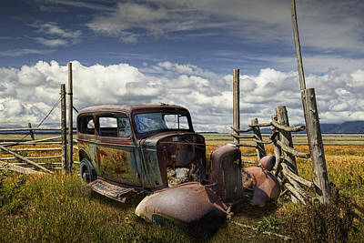 Auto Repair Photograph - Rusty Auto Wreck Out West by Randall Nyhof