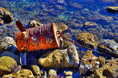Consequences Digital Art - Rusty Barrel. Sea. by Andy Za