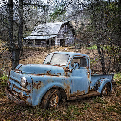 Rusty Blue Dodge Art Print by Debra and Dave Vanderlaan