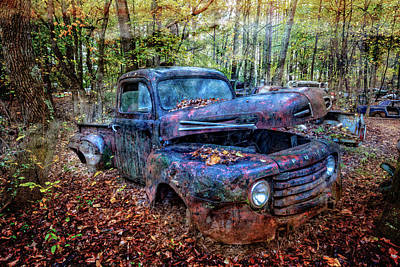 Antique Ford Truck Grill Photograph - Rusty Blue Vintage Ford  Truck by Debra and Dave Vanderlaan
