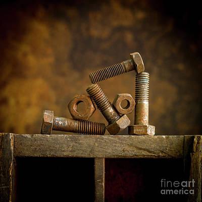 Rusty Bolt And Nuts Art Print by Bernard Jaubert